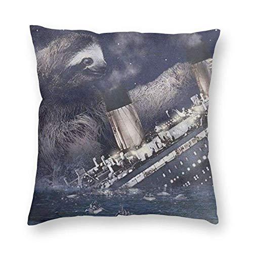 QUEMIN Fundas de cojín de lino y algodón con diseño de perezoso que se hunde el Titanic, fundas de almohada para sofá, decoración del hogar, 45 x 45 cm