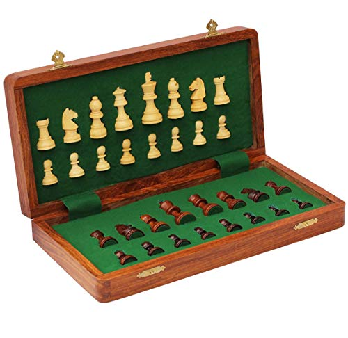 Craftngifts Limited Stock - Chess Set 12x12 Magnetic Folding Chess Set Standard Board Game with Chessmen Storage - Handmade in Fine Wood - Deal of The Day Thanksgiving