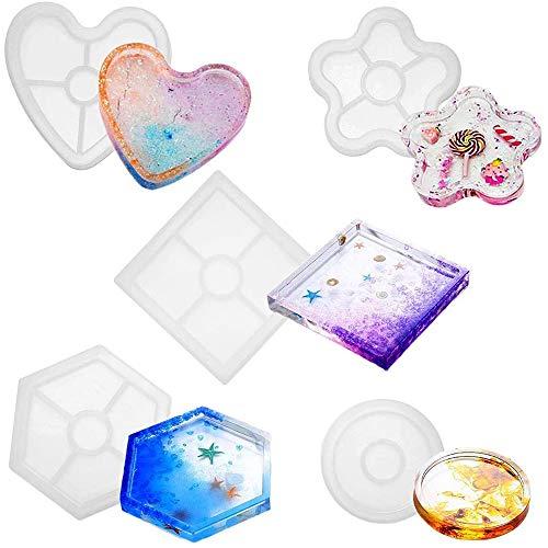 5 pièces DIY Coaster Moule en Silicone, Moules Géométriques en Coulée de Résine, Rond, Carré, Fleur de Prunier, Hexagone et Forme de Coeur, pour Les Bricolages Artisanat Fournitures d'art