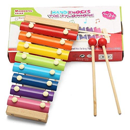 ABBY Jouets éducatifs pour enfants en bois frapper octave de piano Battre xylophone Préscolaire Instruments de musique