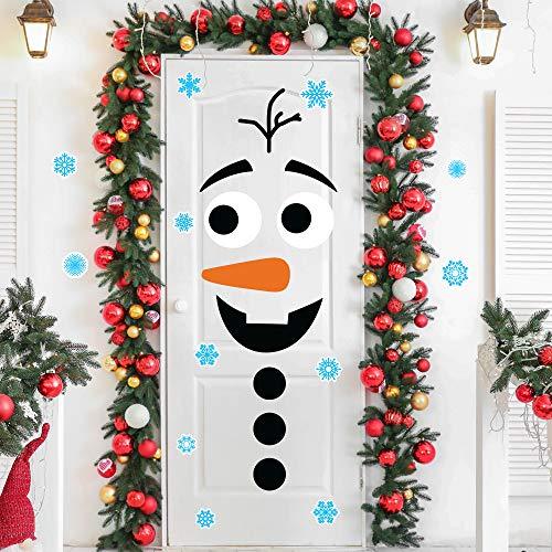 MISS FANTASY Christmas Door Stickers Christmas Snowman Door Decor Stickers Christmas Door Decorations Christmas Snowman Craft Stickers for Xmas Garage Door Refrigerator Wall Window Decor
