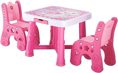 ZHAOHUI-Ensembles Table et Chaise pour Enfants Plastique Table d'enfant Chaises Réglable en Hauteur La Peinture Activité Jardin d'enfants Accueil, 5 Couleurs (Couleur   rouge)