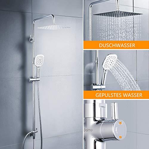 Duschset Duschsystem, Dalmo DBWF01XS 2-Funktionen Edelstahl Duscharmatur mit Kopfbrause, Handbrause, Quadrat Duschsäuleset Duschstangeset, Regenduschset