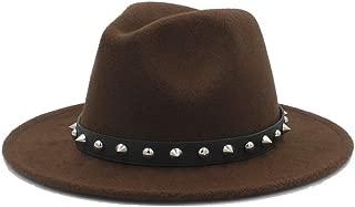Fashion Men Women Winter Fedora Hat with Punk Rivet Panama Jazz Hat Wide Brim Jazz Hat Size 56-58CM` TuanTuan (Color : Coffee, Size : 56-58)