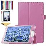 SsHhUu Funda para Galaxy Tab E 9.6' SM-T560, Cubierta Protectora de PU Cuero Soporte con Protector de Pantalla para Samsung Galaxy Tab E 9.6 T560 T567 T560NU T560NZ, Pink