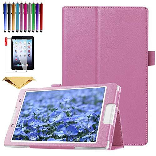 SsHhUu Funda para Galaxy Tab S2 8.0 SM-T710, Cubierta Protectora de PU Cuero Soporte con Protector de Pantalla para 2015 Samsung Galaxy Tab S2 Tablet (8.0 Pulgadas, SM-T710 T715 T713), Pink