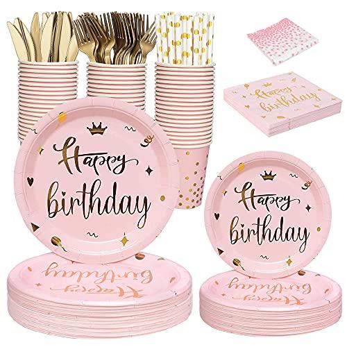 Vajilla, platos, tazas y servilletas de fiesta de cumpleaños de color rosa y dorado, mantel, pajitas, cuchillos y tenedores para fiestas de cumpleaños de mujeres y niñas