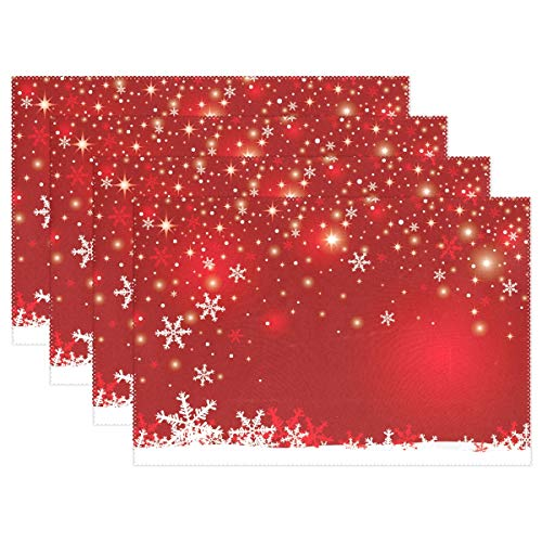 Christmas White Snowflake On Red Background Placemats Set of 6 Table Mat, Table mats Placemats Heat-resistant Stain Resistant Washable for Kitchen Dining Decoration 12' x 18'