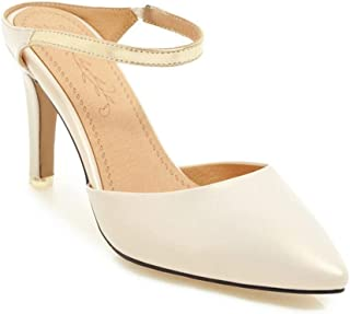 Pointed Solid Color High Heel Sandals (Color : Apricot, Size : 36)