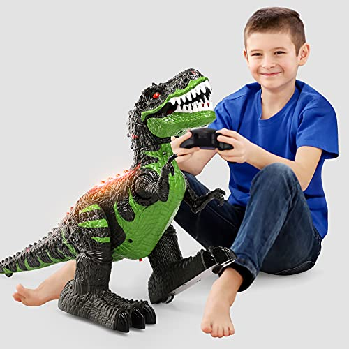 2.4Ghz Remote Control Dinosaur Toys, Walking Robot Dinosaur with LED...