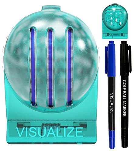 VISUALIZE The Original TRI-LINE Golf Ball Marker Kit - (2-Pack) 3-Line Golf Ball Line Marker- 3-line Golf Ball Marker - Golf Ball Marker Stencil - 2 Ball Markers + 2 Pens (Fine & Medium Tips)