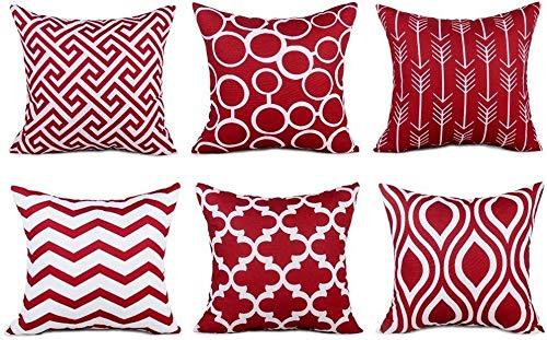 TIDWIACE® Rot Kissenbezüge Baumwolle und Leinen Kissenhüllen mit Geometrischen Mustern für Sofa Haus Zimmer Auto Deko Zierkissenbezüge 45 x 45 cm,6 er Pack