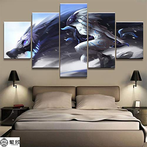 AMOHart Leinwanddrucke 5 Stück LOL League Kindred Game Malerei Wohnzimmer Wandkunst Dekor HD Artworks Poster Drucke auf Leinwand Rahmen