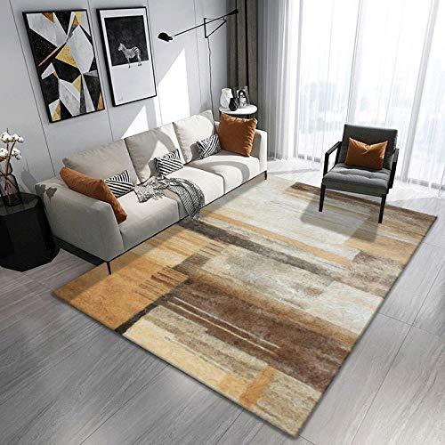 CQIIKJ Tapis imprimé Motif géométrique Marron Kaki Blanc 100% Polyester Épais Confortable 120 x 170 cm Tapis pour Chambre d
