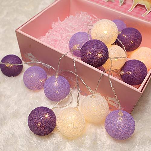 6cm Lichterkette Cotton Ball, DOTBUY LED Weihnachten Baumwollkugeln Batteriebetrieben Romantisch Dekoration Licht für Hochzeit Party Feier Nachtlicht (Verträumtes Lila,1.8M/10LED)