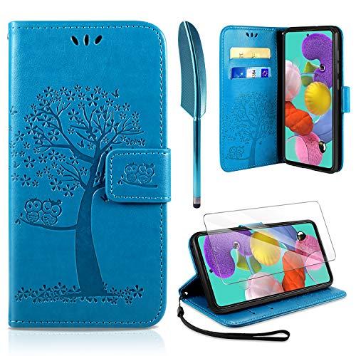 AROYI Handyhülle für Samsung Galaxy A51 Hülle + Schutzfolie, Galaxy A51 Klapphülle Hülle PU Leder Flip Wallet Schutzhülle für Samsung Galaxy A51 Tasche (Blau)