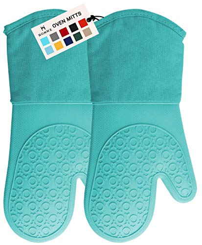 HOMWE Professional Silicone Oven Mitt, Oven Mitts with Quilted Liner, Heat Resistant Pot Holders, Flexible Oven Gloves, Turquoise, 1 Pair, 13.7 Inch