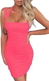 BEAGIMEG Women's Sexy Halter Tank Top Ruches Sleeveless Bodycon Party Mini Dress