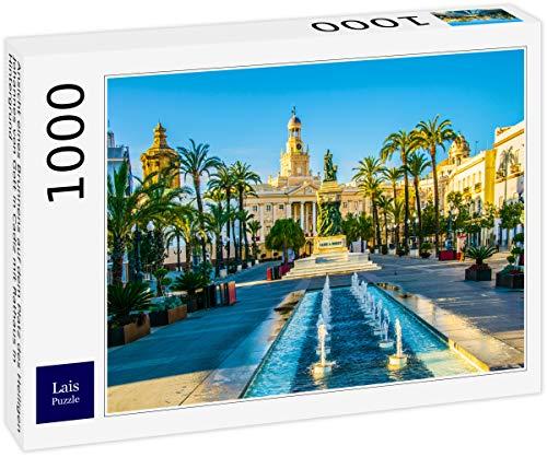 Puzzle Vista de una Fuente en la Plaza de San Juan de Dios en Cádiz con el Ayuntamiento al Fondo 1000 Piezas