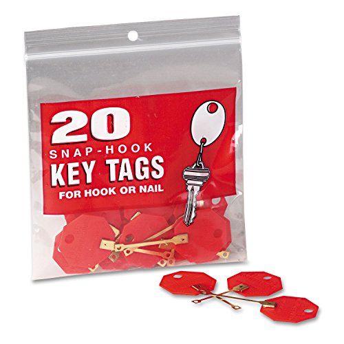 MMF Industries Snap-Hook Octagonal Key Tags, 1-1/4 Inch Diameter, Red, 20-Count (201800207)