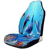 Cubierta de asientos de coche Acuario Dolphin Fish and Seaweed Blue Sea Front Asientos Cover Auto Seat Protector para SUV