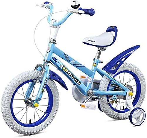 LXYFMS Kinderfahrrad 14 Zoll High-Carbon Steel Alloy Fahrrad 3-5 Jahre alt Kind Fahrrad, Schwarzgelb Orange Weiß blau Kinderfahrrad (Farbe   Weiß Blau)