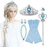 Vicloon 9pcs Princesa Accesorios Conjunto Peluca/Corona/Sceptre/Anillo /Pendientes /Collar/Guant (Azul)