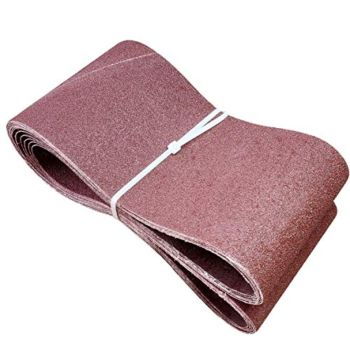 SACKORANGE 6 PCS 6 x 48 Inch Sanding Belts   80 Grit Aluminum Oxide Sanding Belt   Premium Sandpaper for Portable Belt Sander (80 Grit)