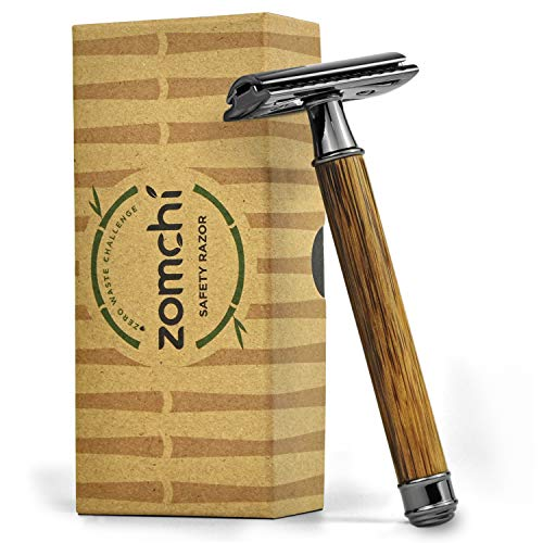 Razors for Men or Women, Eco Razor with Long Natural Bamboo Handle, Double Edge Safety Razor, Fits All Standard Razor Blades (Thin)