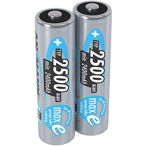 ANSMANN Akku AA Mignon 2500mAh 1,2V NiMH - wiederaufladbare Batterien AA Akkus maxE (geringe Selbstentladung & vorgeladen) ideal für Spielzeug, Funk-Tastatur/Maus, Wii & Xbox Controller (2 Stück)