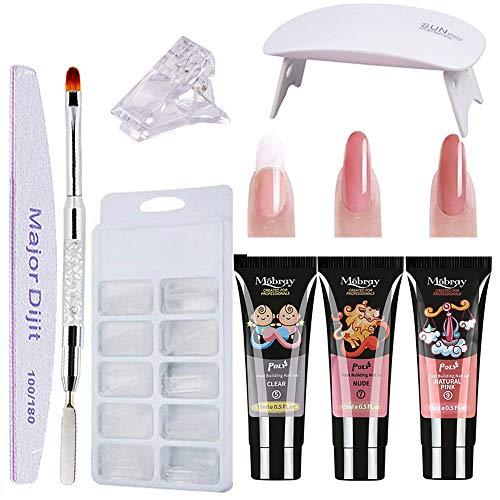 Poly Nail Extention Gel Kit Anself 3 Colors Poly Gel Nail Lamp False Nail Tips Kit Nail Extension Set Gel Nail Builder Enhancement Kit