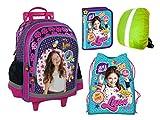 Disney Soy Luna Ranzen Trolley Rucksack auf Rädern, Kinder Federtasche, Schuhbeutel, Regenschutz 4-TEILIGES Set
