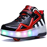 YAWJ Rolle Schuhe Bunt LED Beleuchtung Kinder Rolle Schlittschuh Schuhe Mode Turnschuhe zum Mädchen...