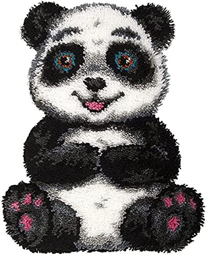 WYOUTDOOR Panda Latch Hook Kits Kits De Fabricación De Alfombras DIY para Niños/Adultos Agujas Artesanales con Estampado De Lona Tapiz De Hilo De Alfombra De Ganchillo, 20.5'X 14'