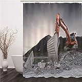 HAHAHAG 3D Duschvorhang Bagger Muster Top Qualität Wasserdicht Anti-Schimmel-Effekt 3D Digitaldruck mit 12 Duschvorhangringe für Badezimmer 180x200cm(71x79 inch)