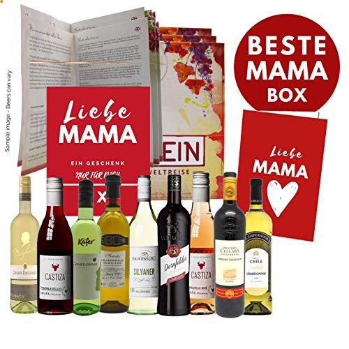 Weinweltreise speziell für Mütter I Geschenkidee für Mama Mutter Oma Powerfrauen I 9 erlesene Weine zum Muttertag Muttertagsgeschenk