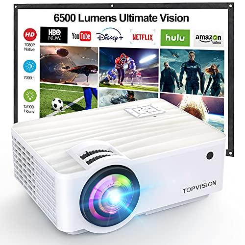 """TOPVISION Mini Proiettore Portatile,1080P Nativa Video Proiettore Supporta 1080P Full HD,6500 Lumen con Display da 300"""",Proiettore LCD per 120000 ore,Compatibile con HDMI/USB/SD/AV/VGA"""
