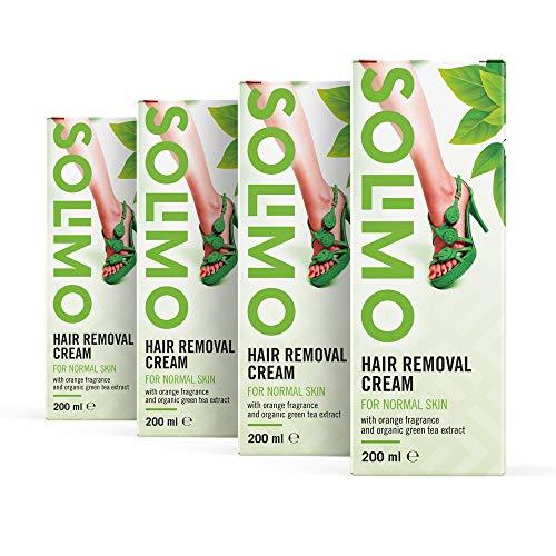 Marque Amazon - Solimo - Crème dépilatoire pour peau normale au parfum orange verte et à l'extrait de thé vert bio, 4 x 200 ml