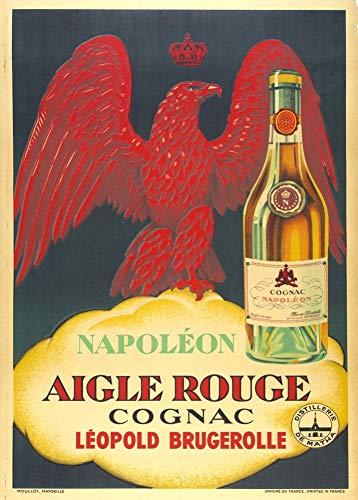 Vintage bieren, wijnen en sterke drank 'Napoleon Aigle Rouge Cognac', Frankrijk, 1925, 250gsm Zacht-Satijn Laagglans Reproductie A3 Poster