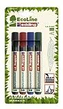 Edding 21/4 - Blíster de 4 marcadores permanentes con punta redonda, tinta permanente, resistente al agua, fabricados con material reciclado, multicolor