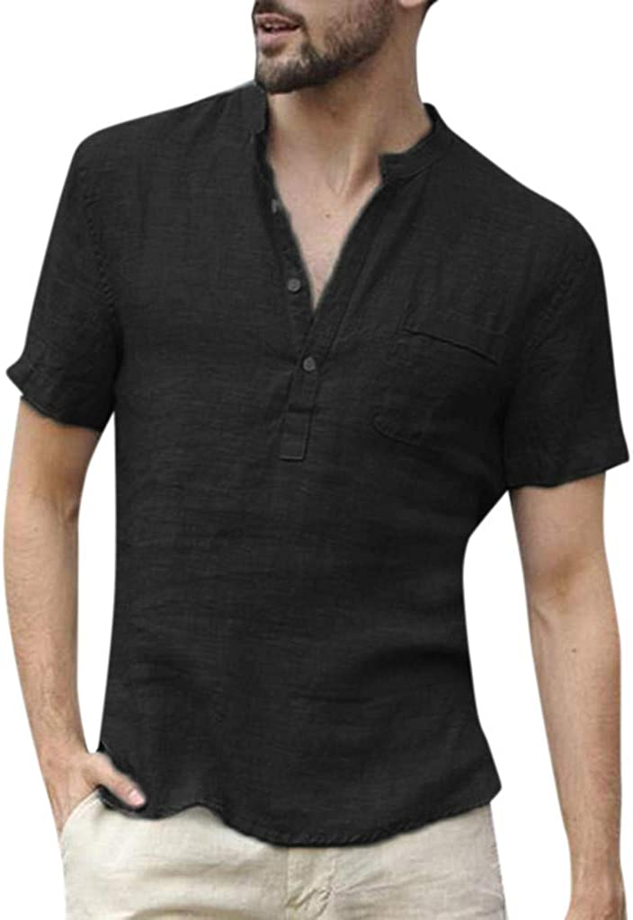 Mens Short Sleeve Shirts Linen Cotton Button Down Fishing Tees Spread Collar Plain Summer Baggy Loose Fit Shirts