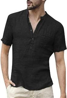 POQOQ T Shirts Tops Blouse Men Baggy Cotton Linen SOID Color Short Sleeve Retro