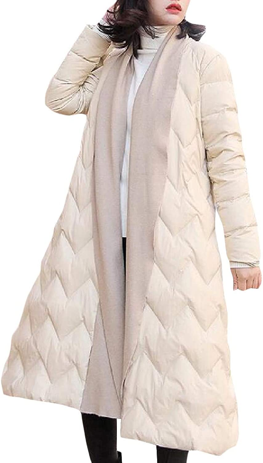 XiaoTianXinWomen XTX Women Pocket Lightweight Quilted Shawl Collar Basic Thicken Down Outerwear Coats Jacket