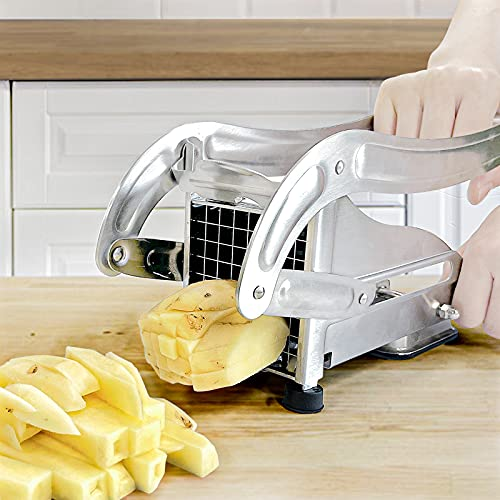 French Fry Cutter with 2 Blades,Coma 3.2 Inch Professional Potato Slicer with No-Slip Suction Base Onion Chipper Perfect for Potato,French Fries,Cucumber Vegetables Carrot