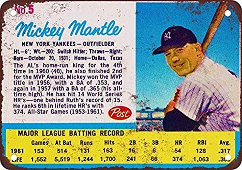 Tin Sign Metal Tin Sign 8x12 inches 1962 Mickey Mantle Post Cereal Card Coffee House or Home Wall Decor Decoration Iron Painting Metal Decorative Wall Art -  7puppet&, USBXZDSSF31