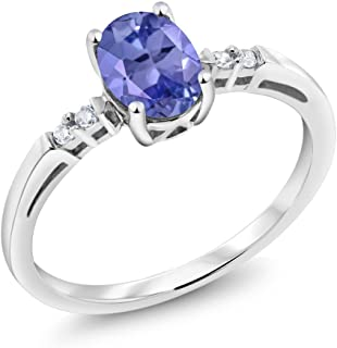 14K White Gold 0.78 Ct Oval Blue Tanzanite White Diamond Women's Ring (Available 5,6,7,8,9)