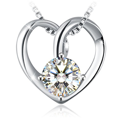 "J.Rosée Heart Necklace,Graduation Gifts 925 Sterling Silver Cubic Zirconia Pendant Necklace Fine Jewelry for Women ""with You""18"