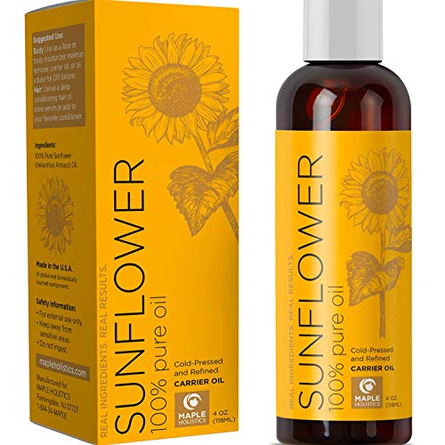 Sunflower Oil for Hair Skin and Nails - Anti Aging Skin Care with Vitamin E Oil for Skin and Hair Care - Pure Sunflower Oil for Skin Moisturizer for Dry Skin and Carrier Oil for Essential Oils Mixing