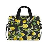 Sacoche pour Ordinateur Portable,Fleur de Citron Fruit Housse Ordinateur Portable Briefcase Laptop Sleeve Case avec Bandoulière Poignée,28.5×38 CM/14 Pouce