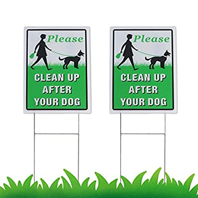 """EWETON Please Clean Up After Your Dog 2 Pack, 12"""" x 9"""" Yard Sign with Metal Wire H-Stakes Included, No Pooping Dog Lawn Signs Double Sided"""